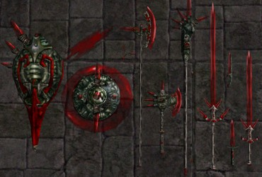Transparent Red Glass Weapons and Shields