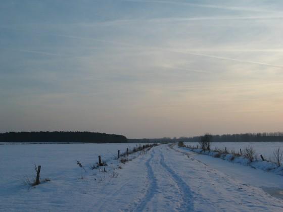 Verschneite Felder und Wege