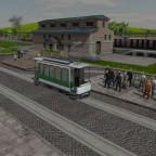 """Wartende Fahrgäste am Bahnhofsvorplatz von """"Klein Schulzendorf""""^^"""
